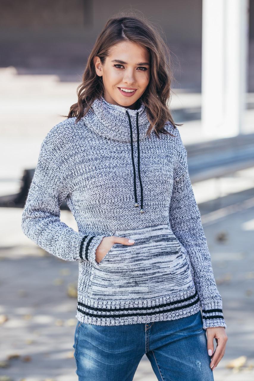 Теплый вязаный свитер с карманом Кенгуру (белый меланж)