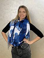 """Шарф жіночий брендовий  """"Абстракція"""",180*70см., синій, білий (Модель 2), Eyfel, Туреччина"""