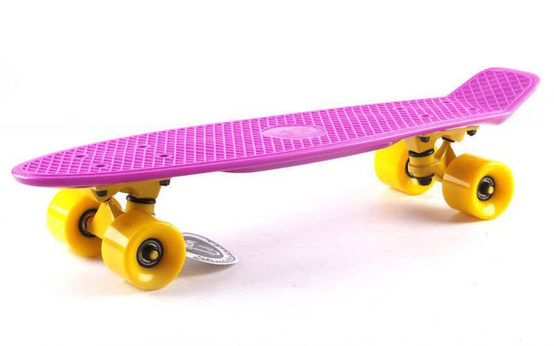 Скейтборд Penny Original FISH 22in однотонная дека (фиолетовый-желтый-желтый). Скейт пенни
