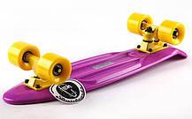 Скейтборд Penny Original FISH 22in однотонная дека (фиолетовый-желтый-желтый). Скейт пенни, фото 2