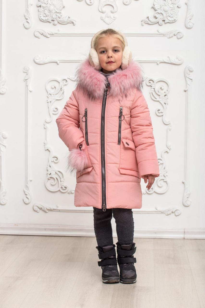 Зимнее пальто «Ника» пудра 122-146 см