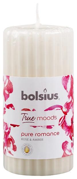 Свеча ароматическая ребристая янтарная роза Bolsius 12 см (60/120-78/ 38828  PRO)
