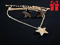 "🔥✅Набор Серьги + Кулон + Цепочка ""Звезда"". Позолота 18 К Xuping, медицинское золото, бижутерия"