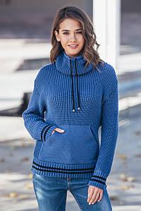 Теплый вязаный свитер с карманом Кенгуру (джинс)