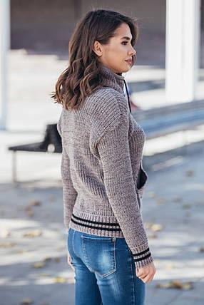 Теплый вязаный свитер с карманом Кенгуру (капучино меланж), фото 2