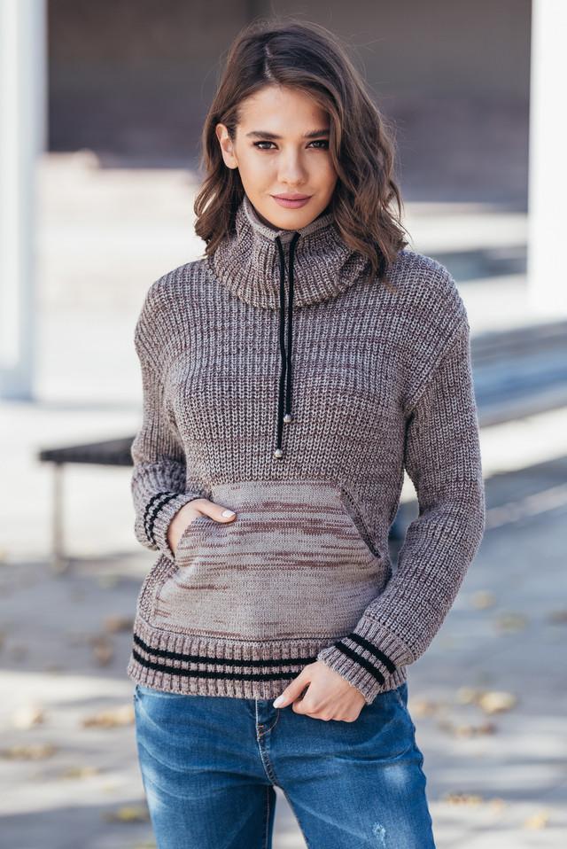 Теплый вязаный свитер с карманом Кенгуру (капучино меланж)