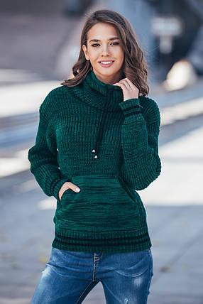 Теплый вязаный свитер с карманом Кенгуру (бутылка меланж), фото 2