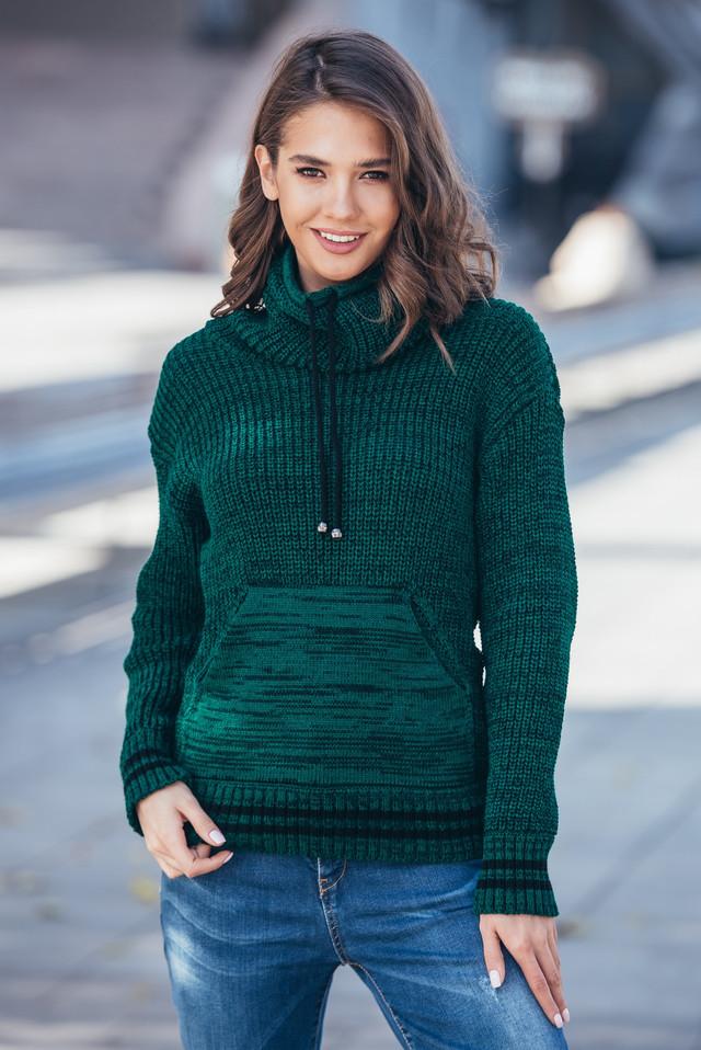 Теплый вязаный свитер с карманом Кенгуру (бутылка меланж)