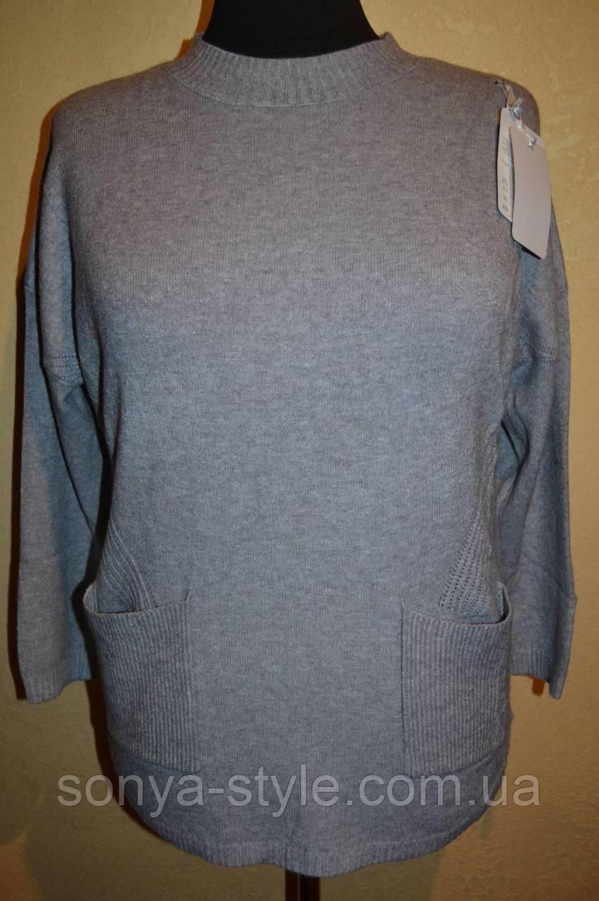Женская кофта однотонная с карманами     больших размеров