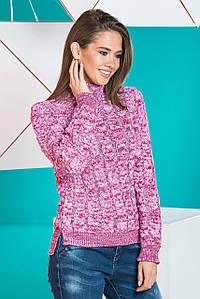 Теплый вязаный женский свитер Мила (вишня меланж)