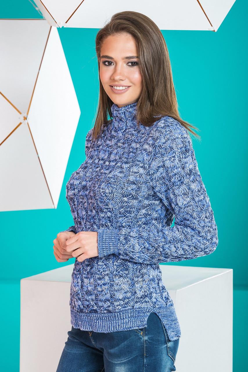 Теплый вязаный женский свитер Мила (синий меланж)