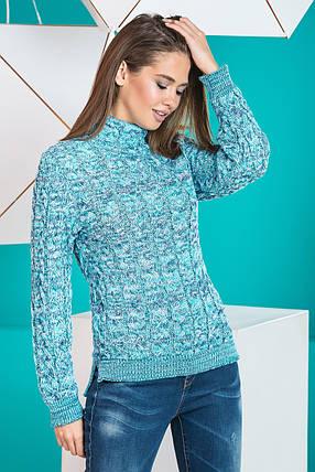 Теплый вязаный женский свитер Мила (мята меланж), фото 2