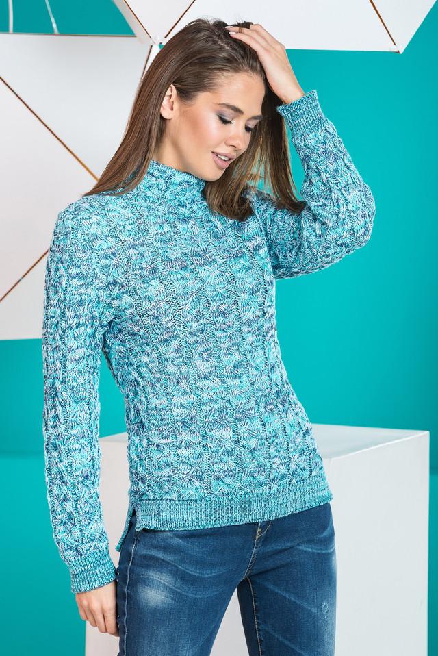 Теплый вязаный женский свитер Мила (мята меланж)