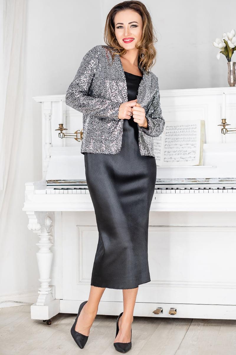 Чорно-сріблястий ошатний жіночий костюм Марго