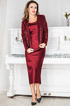 Бордовый нарядный женский костюм Марго