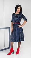 Женское велюровое платье в горошек. Размеры 42,44