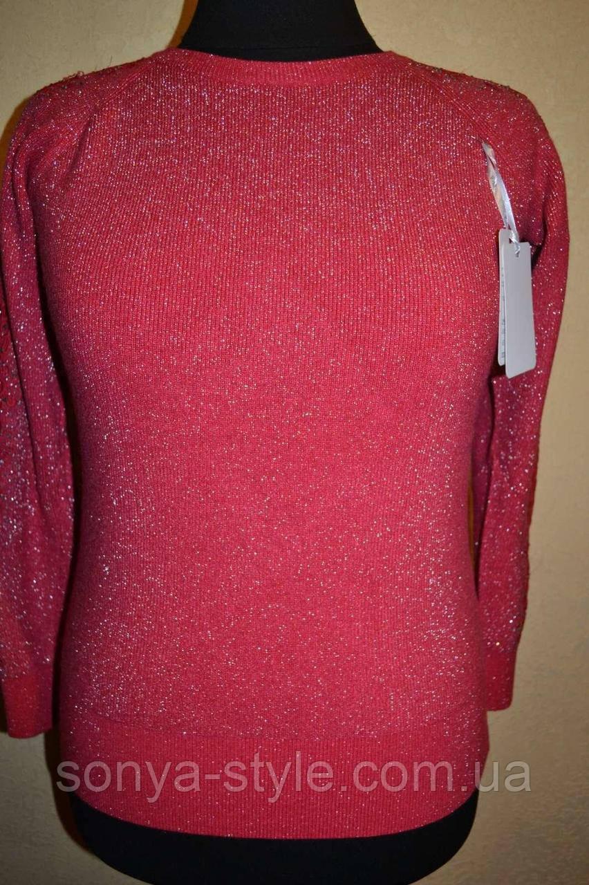 Женская кофта с люрексом и кружевами на рукавах      больших размеров