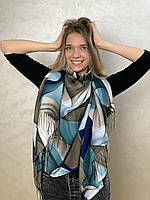 """Шарф жіночий брендовий  """"Абстракція"""", 180*70см., бірюзовий, бежевий, Eyfel, Туреччина"""
