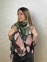 """Шарф жіночий брендовий  """"Абстракція"""", 180*70см., зелений, рожевий"""