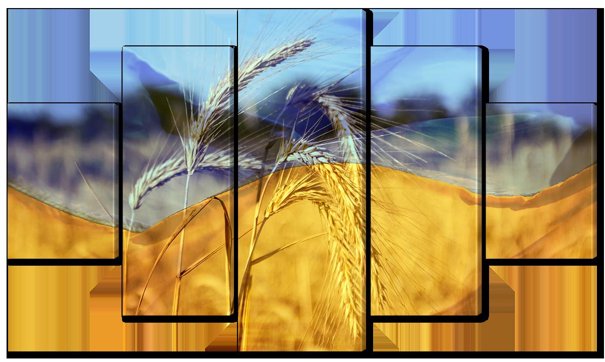 Модульная картина Interno Холст Флаг Символы Украины  123х69см (R5851M)