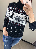 Теплый шерстяной женский свитер с оленями, новогодний (вязка), фото 1