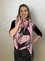 """Шарф жіночий брендовий  """"Абстракція"""", 180*70см., ніжно рожевий, чорний, Eyfel, Туреччина"""