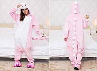 Пижама кигуруми Взрослые и Детские Дракон розовый