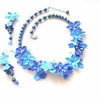 Колье и серьги с синими лилиями, фото 1