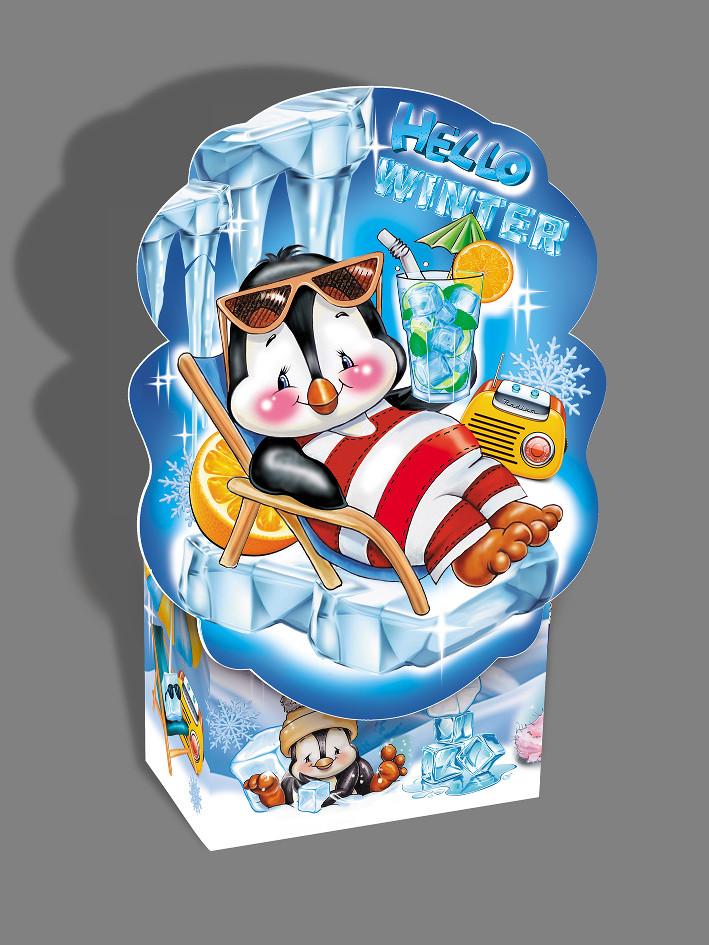 Упаковка святкова новорічна з картону Пінгвін, до 500г, від 1 штуки