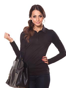 Черная кофта поло с длинными рукавами (размеры XS-2XL)