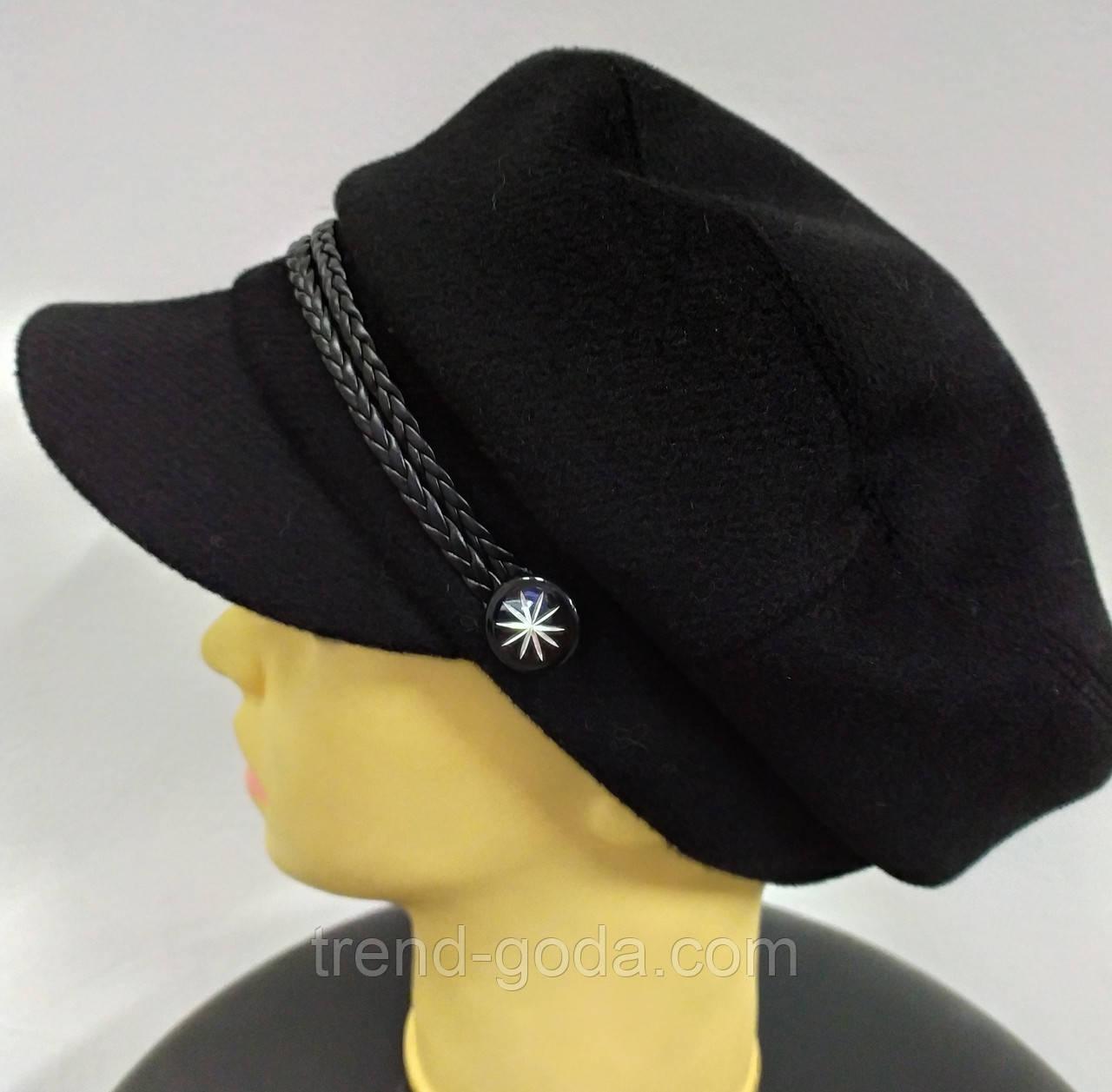 Кепка женская кашемировая, теплая, черного цвета