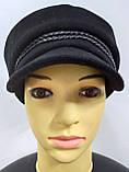 Кепка женская кашемировая, теплая, черного цвета, фото 4