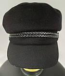 Кепка женская кашемировая, теплая, черного цвета, фото 5