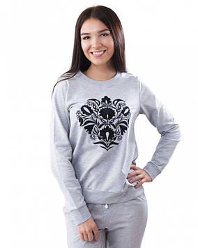 Серый женский пуловер из двунитки (размеры XS-2XL)