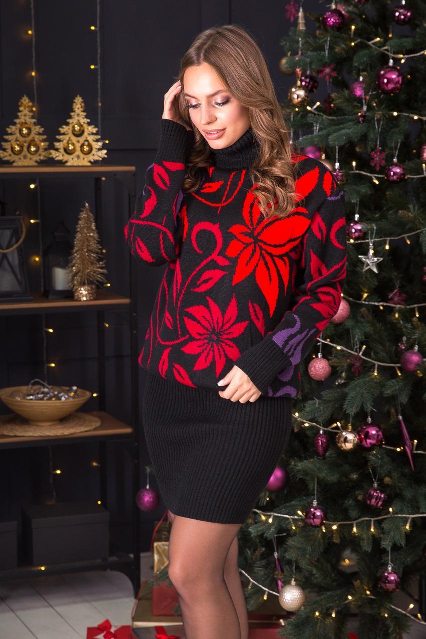 Теплий костюм зі спідницею-олівець міні Вероніка (чорний, вишня, слива, червоний)