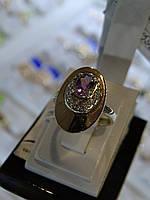 Кольцо серебряное с золотой вставкой, куб.цирконием и розовым аметистом