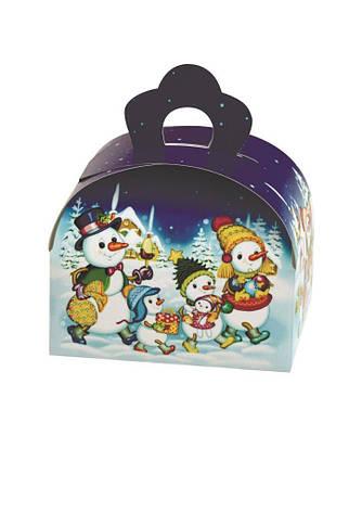 """Новогодняя подарочная коробочка для конфет и сладостей 150-200гр Скринька """"Сніговички"""" 100шт/уп, фото 2"""