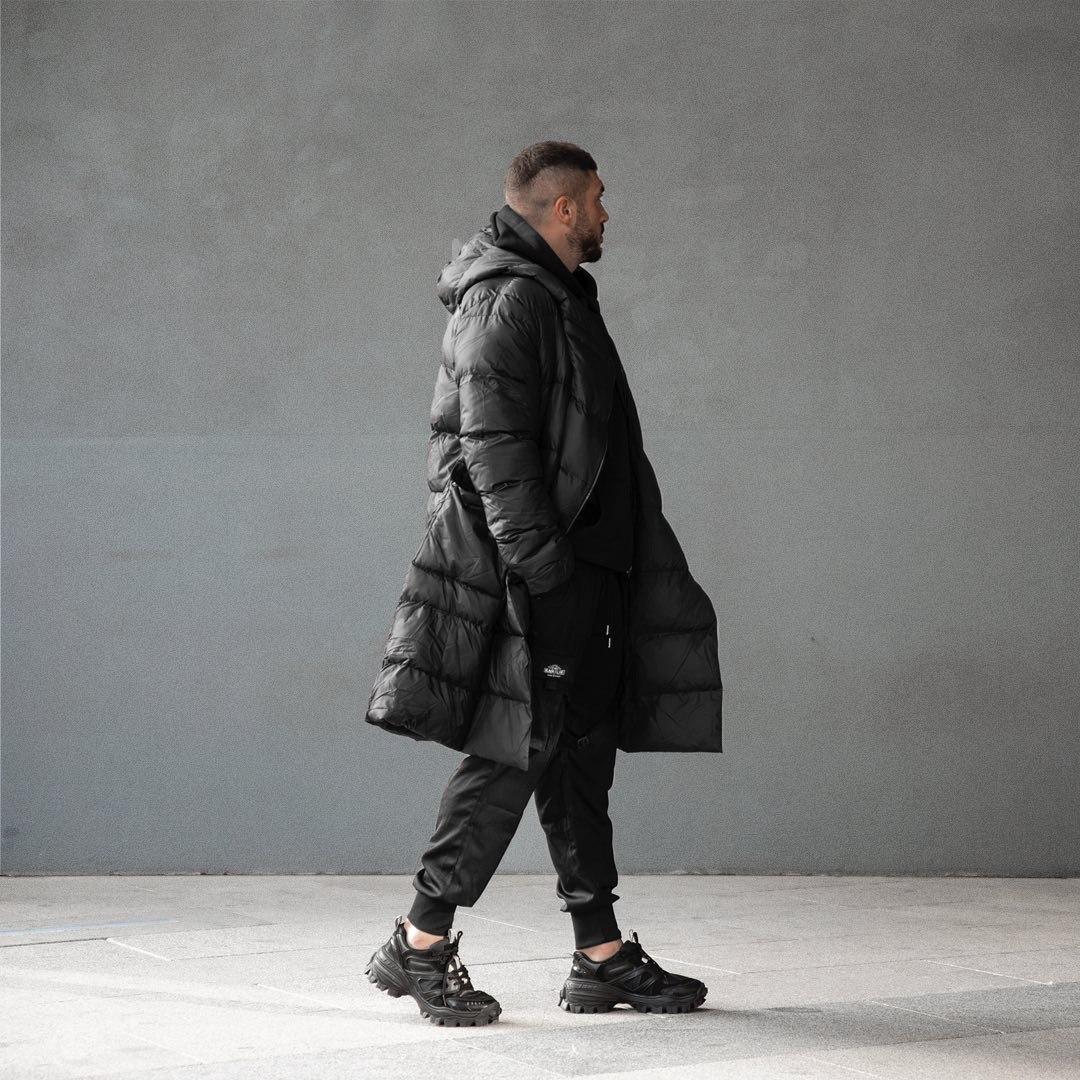 😜 Пуховик - Мужскаяя куртка зима черного цвета удлиненная (утеплен синтепоном)