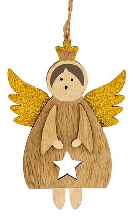 Декоративная подвеска 11 см, Ангел в короне, золотые крылья, деревянная, House of Seasons, фото 2