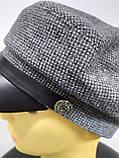 Кепка женская кашемировая, серая в клеточку, фото 5