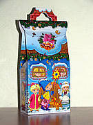 Упаковка праздничная новогодняя из картона Хатка, до 400г