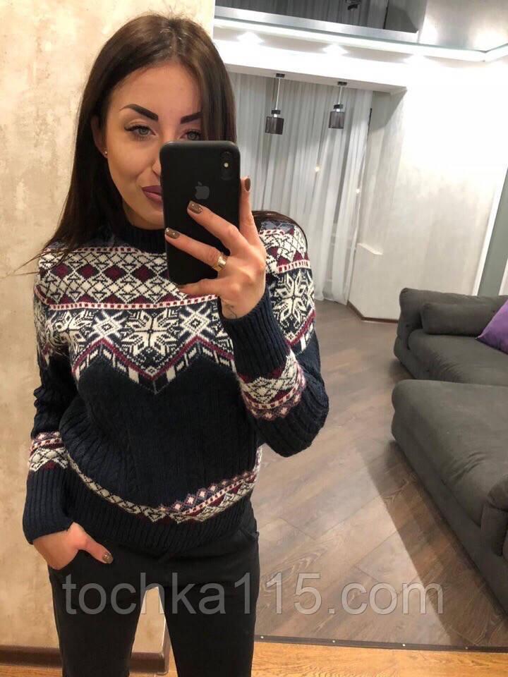 Стильный шерстяной праздничный женский свитер (вязка)