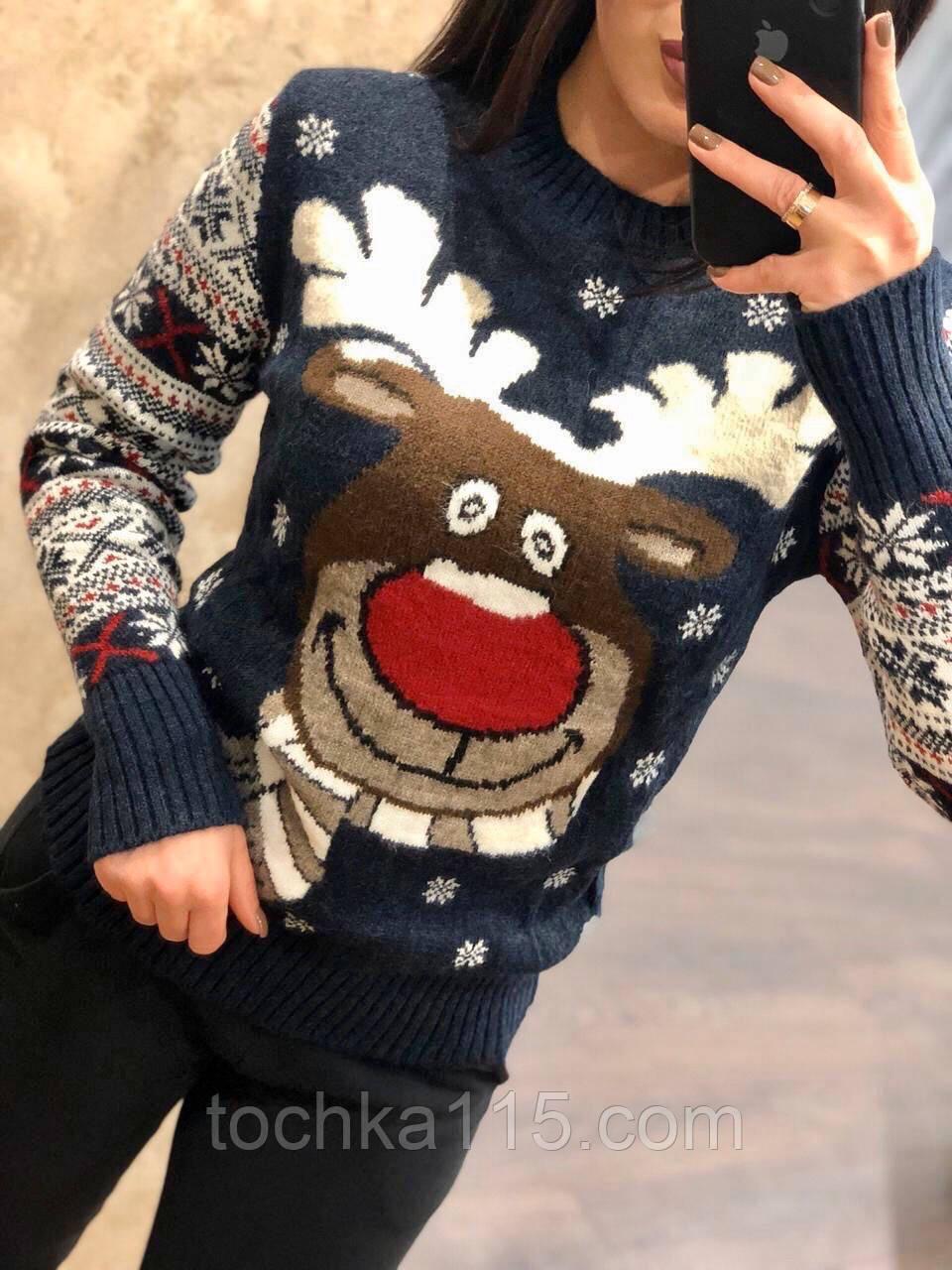 Невероятно теплый шерстяной праздничный женский свитер с оленем (вязка)