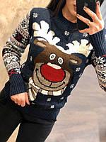 Невероятно теплый шерстяной праздничный женский свитер с оленем (вязка), фото 1