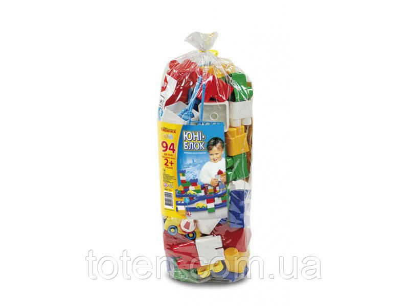 "Конструктор ""Юні-блок"" (94 дет.) ( паяний кульок ) 0125 Юніка"