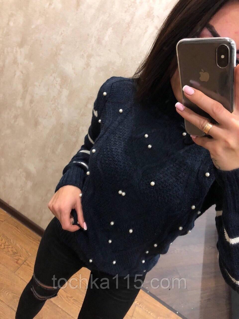 Невероятно теплый шерстяной новогодний женский свитер (вязка)