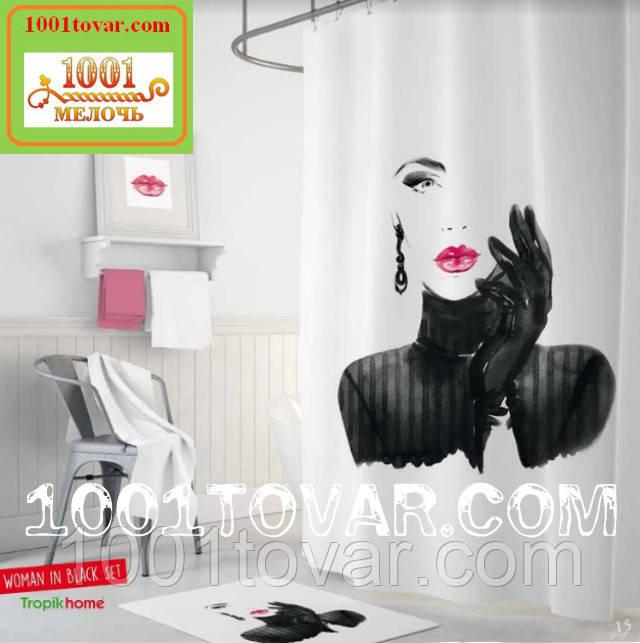 """Тканевая шторка для ванной комнаты из полиэстера """"Pretty""""Tropik Home, размер 180х200 см., Турция"""