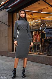 Трикотажное платье-миди с завышенной талией серое