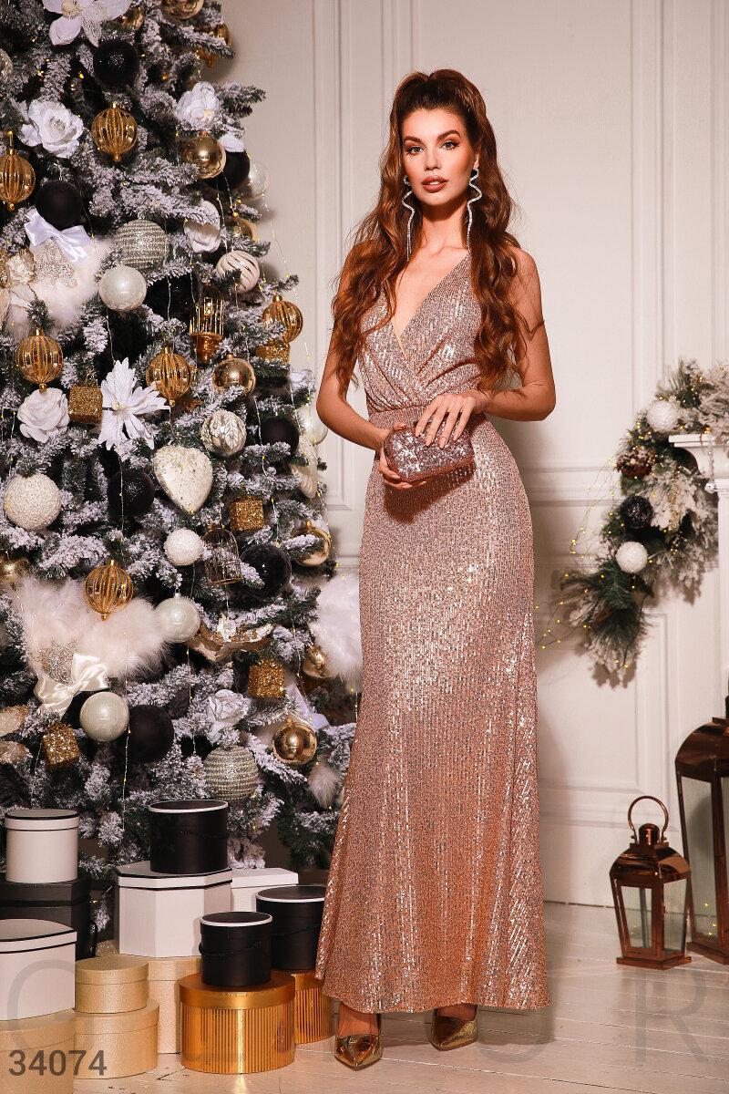 Длинное вечернее платье-макси с пайеткой золотистое