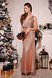 Длинное вечернее платье-макси с пайеткой золотистое, фото 2